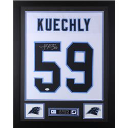 Luke Kuechly Signed Carolina Panthers 24x30 Custom Framed Jersey (JSA COA)