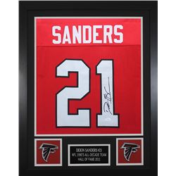 Deion Sanders Signed Atlanta Falcons 24x30 Custom Framed Jersey (JSA COA)