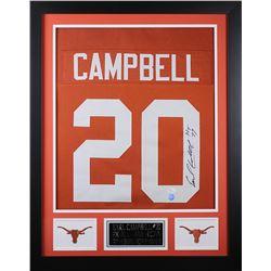 """Earl Campbell Signed Texas Longhorns 24x30 Custom Framed Jersey Inscribed """"HT 77"""" (JSA COA)"""