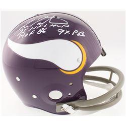 "Fran Tarkenton Signed Minnesota Vikings Full-Size Throwback Suspension Helmet Inscribed ""75 NFL MVP"""