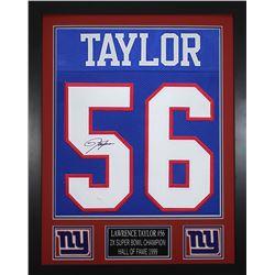 Lawrence Taylor Signed New York Giants 24x30 Custom Framed Jersey (JSA COA)