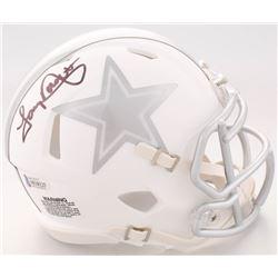 Tony Dorsett Signed Dallas Cowboys White ICE Speed Mini Helmet (Beckett COA)