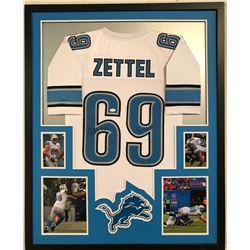 """Anthony Zettel Signed Lions 34x42 Custom Framed Jersey Inscribed """"Go Lions! (JSA COA)"""