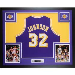 Magic Johnson Signed Los Angeles Lakers 35x43 Custom Framed Jersey (Beckett COA)