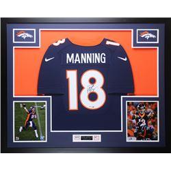 Peyton Manning Signed Denver Broncos 35x43 Custom Framed Jersey (Steiner COA)