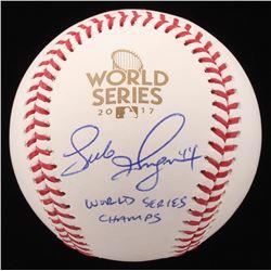 "Luke Gregerson Signed 2017 World Series Logo Baseball Inscribed ""World Series Champs"" (JSA COA)"