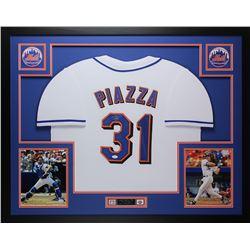 "Mike Piazza Signed Mets 35"" x 43"" Custom Framed Jersey (JSA COA)"