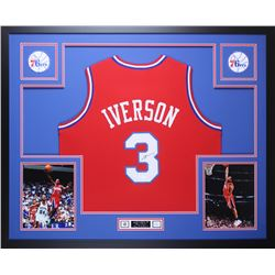 Allen Iverson Signed Philadelphia 76ers 35x43 Custom Framed Jersey Display (JSA COA)