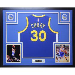 Stephen Curry Signed Golden State Warriors 35x43 Custom Framed Jersey (Steiner Hologram)