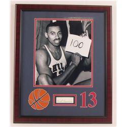 Wilt Chamberlain Signed Philadelphia Warriors 11x14 Custom Framed Cut Display (JSA Hologram)