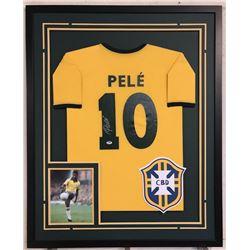 Pele Signed Team Brazil 34x42 Custom Framed Jersey (PSA COA)