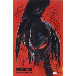 The Predator 12.25x18 Photo Signed by (8) With Shane Black, Olivia Munn, Thomas Jane, Sterling K. Br