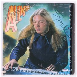 "Gregg Allman Signed The Gregg Allman Band ""Playin' Up a Storm"" Vinyl Record Album Cover (PSA COA)"