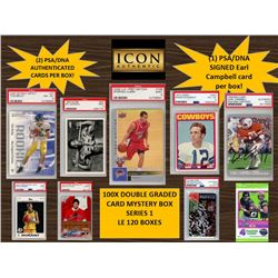 ICON AUTHENTIC  100X DOUBLE GRADED CARD  MYSTERY BOX SERIES 1 100+ Cards per Box