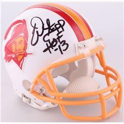 """Warren Sapp Signed Tampa Bay Buccaneers Throwback Mini-Helmet Inscribed """"HOF 13"""" (JSA COA)"""