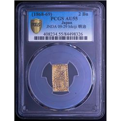 (1868-69) Japan 2 Bu Gold Coin, Meiji Era - JNDA-09-29 (PCGS Gold Shield AU55)