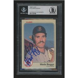 Wade Boggs Signed 1983 Fleer #179 RC (BGS Encapsulated)