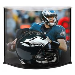 """Carson Wentz Signed Philadelphia Eagles Full-Size Helmet Inscribed """"AO1"""" with Curve Display Case (Fa"""