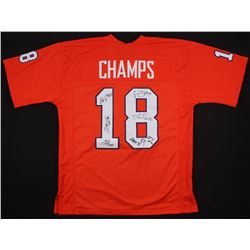 2018 National Champions Clemson Tigers Jersey Team-Signed by (8) with Christian Wilkins, Dexter Lawr