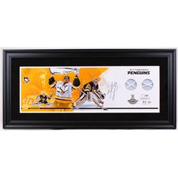 Matt Murray Signed Pittsburgh Penguins 17x37 Custom Framed Limited Edition Game-Used Finals Net Disp