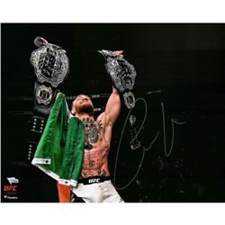 "Conor McGregor Signed UFC ""Raising Two Belts"" 16x20 Photo (Fanatics Hologram)"