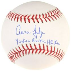 "Aaron Judge Signed Limited Edition Baseball Inscribed ""Yankee Rookie HR Rec"" (Fanatics Hologram)"