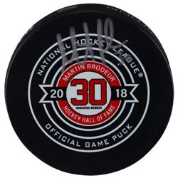 Martin Brodeur Signed Hall of Fame Logo Hockey Puck (Fanatics Hologram)