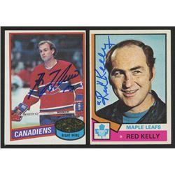 Lot of (2) Signed Hockey Cards with 1980-81 Topps #10 Guy Lafleur  1974-75 Topps #76 Red Kelly CO (J