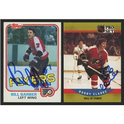 Lot of (2) Signed Philadelphia Flyers Hockey Cards with 1981-82 Topps #2 Bill Barber  1990-91 Pro Se