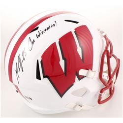 "Melvin Gordon Signed Wisconsin Badgers Full-Size Speed Helmet Inscribed ""On Wisconsin!"" (Radtke COA)"