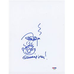 """Tommy Chong Signed 8.5x11 Cut with Original Sketch Inscribed """"Gummie Bear!"""" (PSA COA)"""