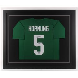 "Paul Hornung Signed Notre Dame Fighting Irish 35.5x43.5 Custom Framed Jersey Inscribed ""56 HT"" (Radt"