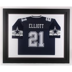 Ezekiel Elliott Signed Dallas Cowboys 35.5x43.5 Custom Framed Jersey (Beckett COA)