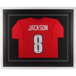 "Lamar Jackson Signed Louisville Cardinals 35.5x43.5 Custom Framed Jersey Inscribed ""Heisman 16"" (Rad"