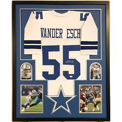 Leighton Vander Esch Signed Dallas Cowboys 35x43 Custom Framed Jersey (JSA COA)