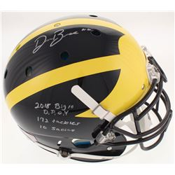 """Devin Bush Signed Michigan Wolverines Full-Size Authentic On-Field Helmet Inscribed """"2018 Big 10 D.P"""