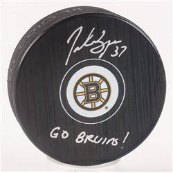 "Patrice Bergeron Signed Boston Bruins Logo Hockey Puck Inscribed ""Go Bruins!"" (Bergeron COA)"