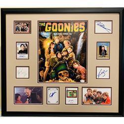 The Goonies 24x28 Custom Framed Display Cast-Signed by (8) with Josh Brolin, Sean Astin, Martha Plim