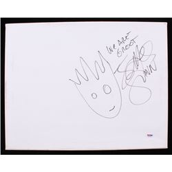 """James Gunn Signed 14x18 Canvas with Hand-Drawn Sketch Inscribed """"We Are Groot"""" (PSA COA)"""