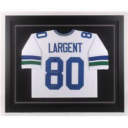 "Steve Largent Signed Seattle Seahawks 35.5x43.5 Custom Framed Jersey Inscribed ""HOF 95"" (Radtke COA)"