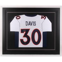 """Terrell Davis Signed Denver Broncos 35.5x43.5 Custom Framed Jersey Inscribed """"Broncos 4 Life"""" (Radtk"""