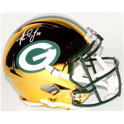 Aaron Jones Signed Green Bay Packers Full-Size Chrome Speed Helmet (Beckett COA)