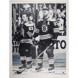 Patrice Bergeron  Brad Marchand Signed Boston Bruins 34x44 Canvas (Bergeron COA)