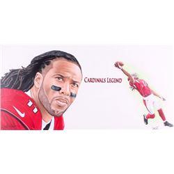 """Larry Fitzgerald Arizona Cardinals """"Cardinals Legend"""" 20x40 Original Water Color and Pencil Art Piec"""