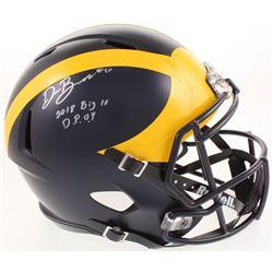 "Devin Bush Signed Michigan Wolverines Full-Size Helmet Inscribed ""2018 Big 10 D.P.O.Y"" (Radtke COA)"