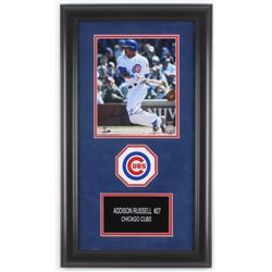 Addison Russell Signed Chicago Cubs 15x25.75 Custom Framed Photo Display (Schwartz COA)