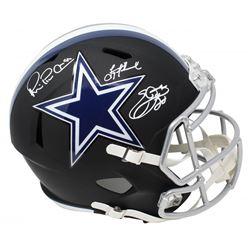 Troy Aikman, Emmitt Smith  Michael Irvin Signed Dallas Cowboys Black Matte Full-Size Speed Helmet (S