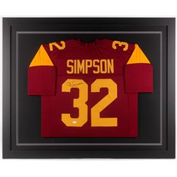 O.J. Simpson Signed USC Trojans 35x43 Custom Framed Jersey (JSA COA)