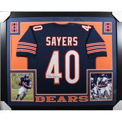 Gale Sayers Signed Chicago Bears 35x43 Custom Framed Jersey (Beckett COA)