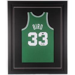 Larry Bird Signed Boston Celtics 35x43 Custom Framed Jersey (Radtke COA)